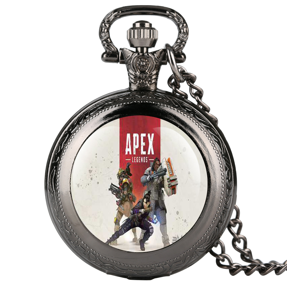 Apex Web Games Theme Sticker Pocket Watch Quartz Pocket Watch Retro For Boy Arabic Digital Gift For Pocket Watch With Necklace