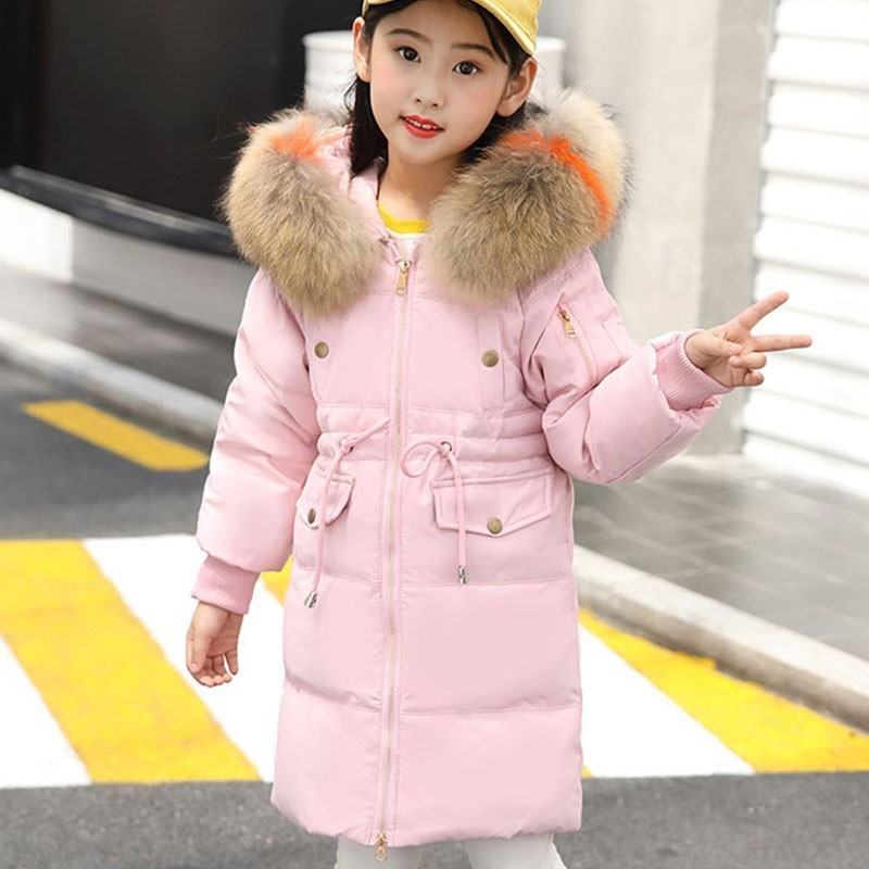 White Duck Down Girls Jackets Kids Fur Collar 2018 Winter Thicken Red Black Girls Down Coat Big Boys Outerwear Overcoat Parkas 2018 turn down collar girls wool outerwear fluffy girl faux fur coat fur patchwork cool children overcoat big girls fur jackets