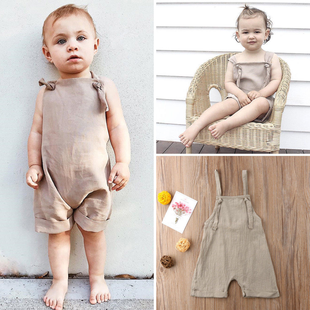 Pudcoco Baby Clothes Kids Baby Girl Boy Bib Short Pants Backless   Romper   Jumpsuit Outfits Clothes Set