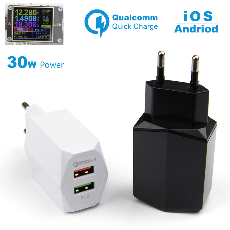 QC 3.0 Fast Charge Charger Dual Usb Qualcomm Quick Charging Charger 5a 2U EU Mobile Travel Adaptor for Android iPhone Samsung Mi