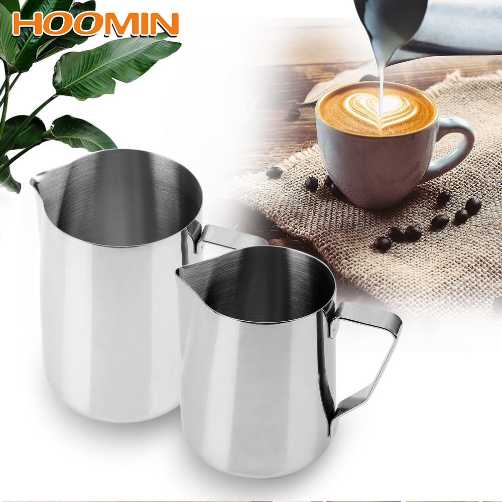 Barista:  HOOMIN Coffee Pitcher Barista Craft Coffee Latte Pitcher Stainless Steel Milk frothing Jug Espresso Pull Flower Cup Coffeeware - Martin's & Co