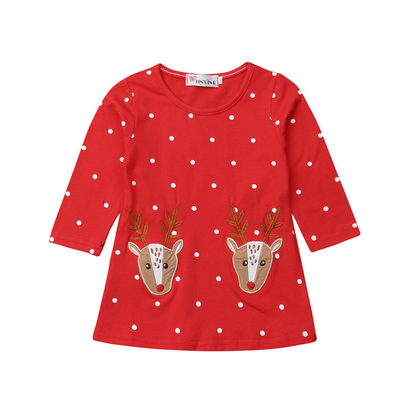 Kids Baby Girls Christmas Long Sleeve Dresses Xmas Reindeer Cotton Party Dresses