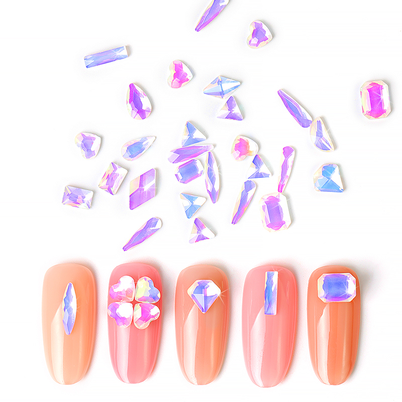 10pc Crystal AB 3D Nail Art Rhinestone Gems Flatback Stones DIY Decorations Manicure Jewelry Different Shapes For Nails