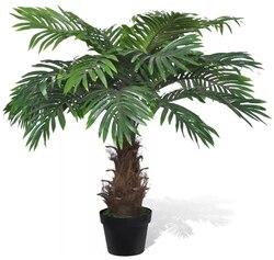 VidaXL Palmier artificial 80 Cm planta de plástico y 1 maceta con 21 hojas verdes nunca secar accesorios para el hogar Decoración