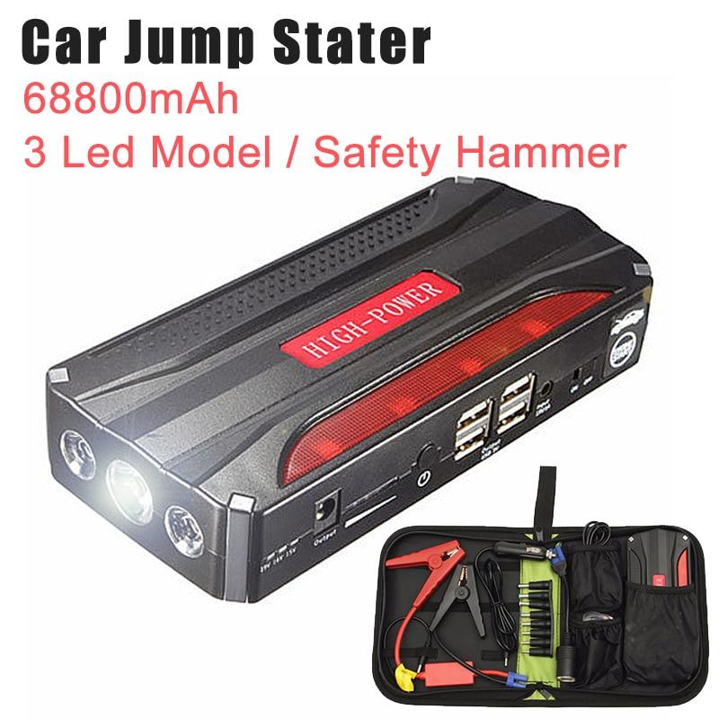 68800 mAh 4USB Multi-Fonction 12 V Voiture Jump Starter batterie externe batterie rechargeable Portable Démarreur Voiture De Saut Booster Batterie