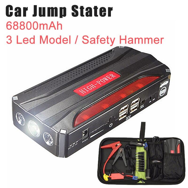 68800 mAh 4USB multi-fonction 12 V voiture saut démarreur batterie externe Rechargeable batterie Portable voiture saut démarreur Booster batterie