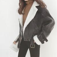 LANMREM 2018 New Fashion Plush Linling Patchwork Denim Jackets Female's Long Sleeve Short Type Coat Loose Casual Vestido YF31702