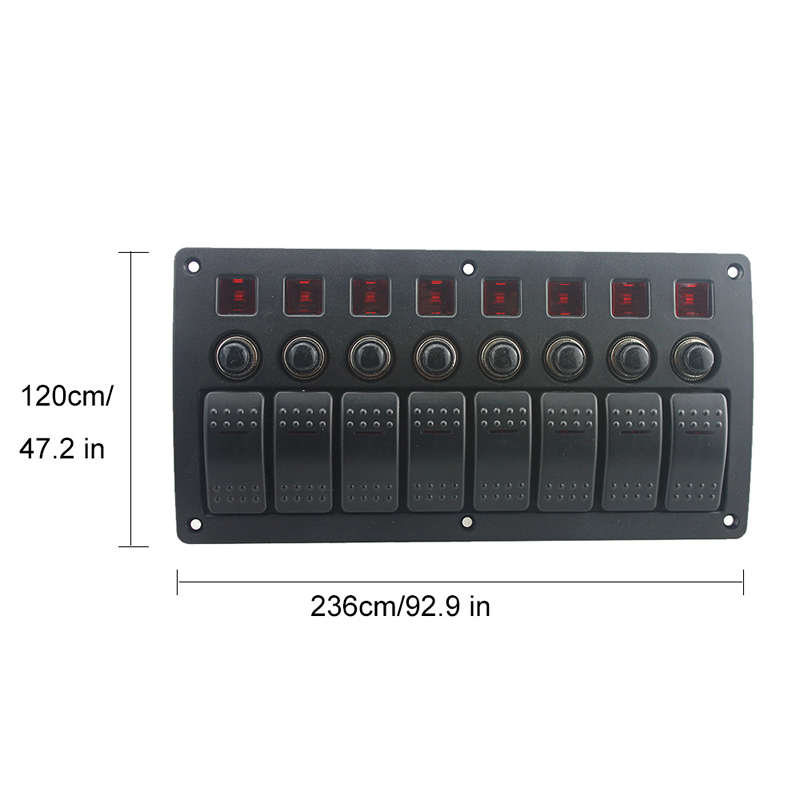 12V 24V 8 Gang Red Led Rocker Switch Panel Circuit Breakers Car Auto Boat Marine Waterproof PCB board overload protector in Car Switches Relays from Automobiles Motorcycles