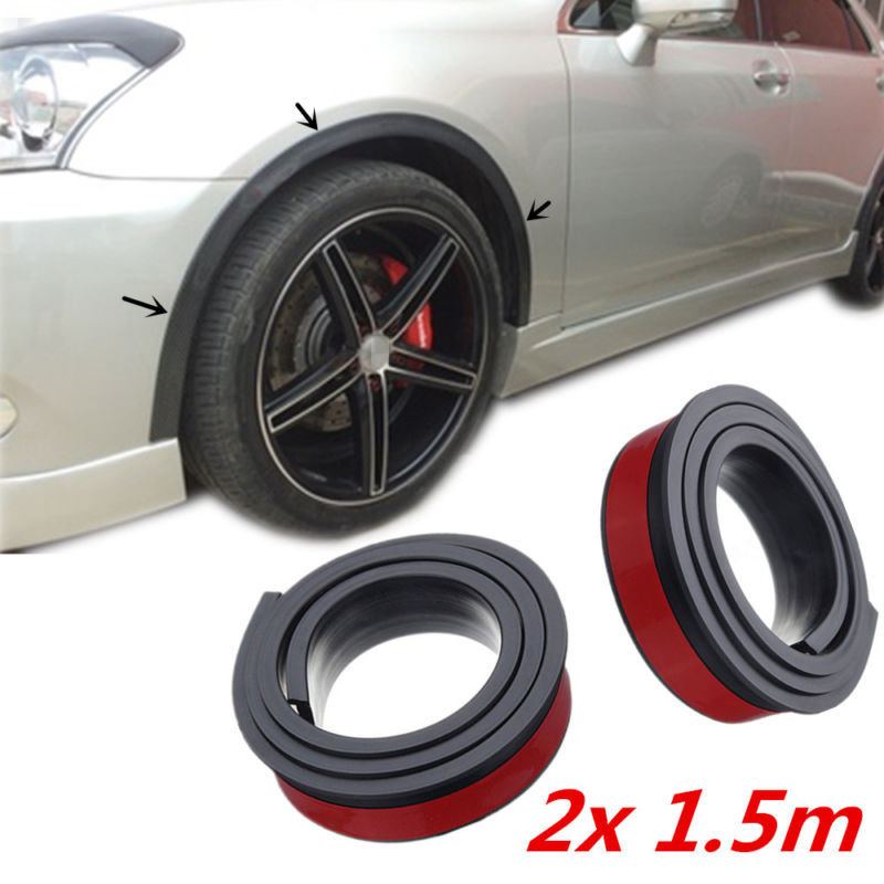 2pcs Universal Rubber Car Wheel Arch Protection Moldings Anti collision Mudguard Universal fitment for most cars trucks for SUV