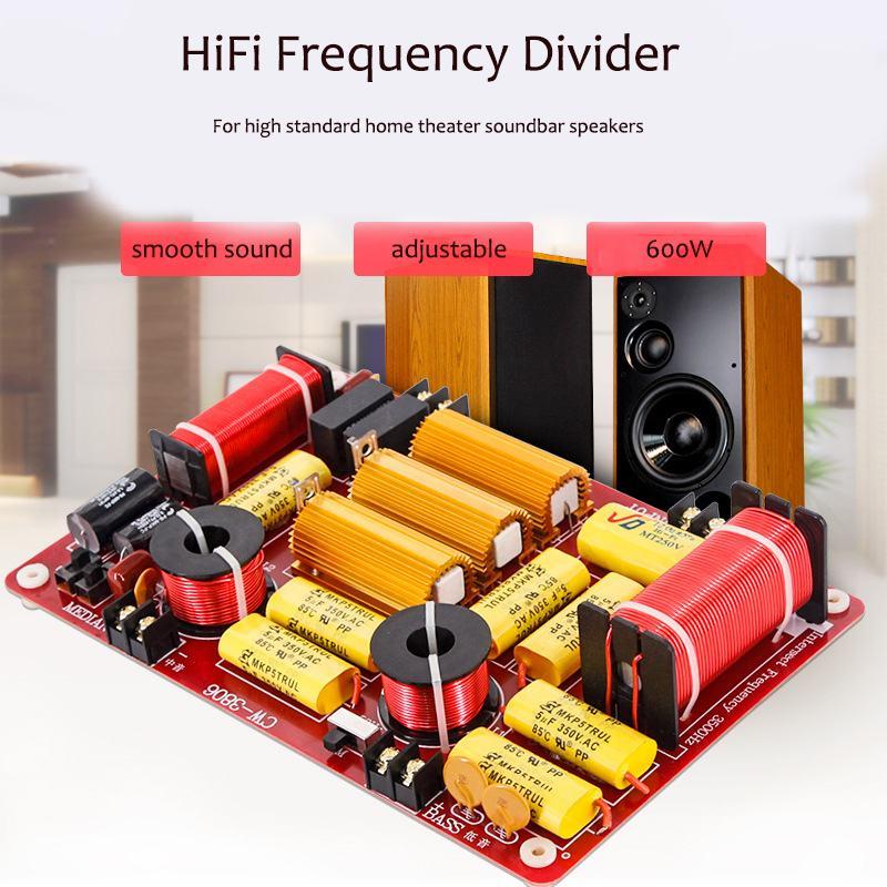 LEORY 600 W Home Cinéma Barre De Son Haut-Parleur diviseur de fréquence Réglable 4-8 ohm Haut de gamme HiFi 3 Way Crossover diviseur de fréquence