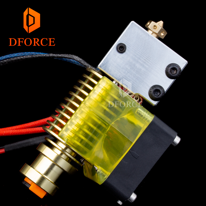 highquality v6 Volcano hotend GOLD heatersink 12V/24V remote Bowen print J-head and cooling fan bracket for E3D HOTEND for PT100 trianglelab radiator fan cover fan duct for e3d radiator for hotend radiator fan bracket for 3d printer accessory for volcano