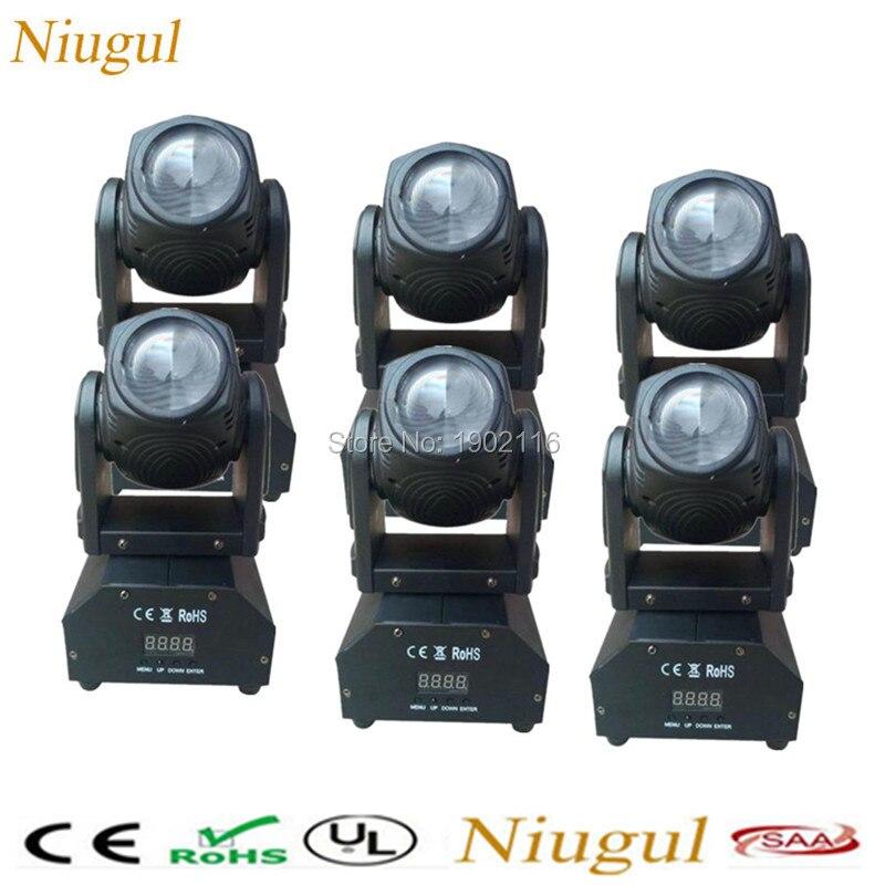 6pcs/lot Mini 10W LED Beam Moving Head Light /RGBW DMX512 Beam Effect Stage Lights/Disco DJ Spot Lighting/10W LED Spotlight Lamp