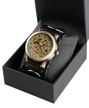 SHENHUA Retro Bronze Skeleton Watch Mens Mechanical Automatic Steampunk Clock Male Leather with Bracelet Gift Boxes
