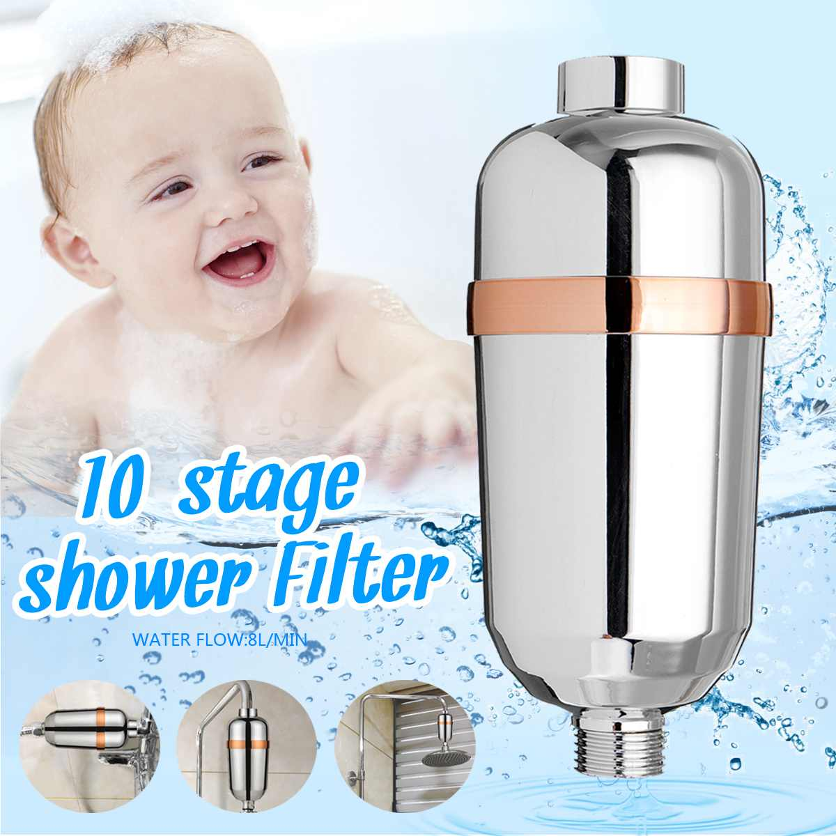 10  Bath Water Purifier Bathroom Shower Filter 1/2'' Health Softener Chlorine Removal High Output Universal Water Treatment