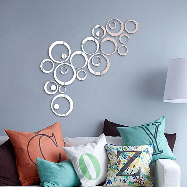 24Pcs/lot DIY 3D Circles Mirror Wall Sticker Crystal Mural Decal Home Decor Living Room Mirrored Decorative Sticker