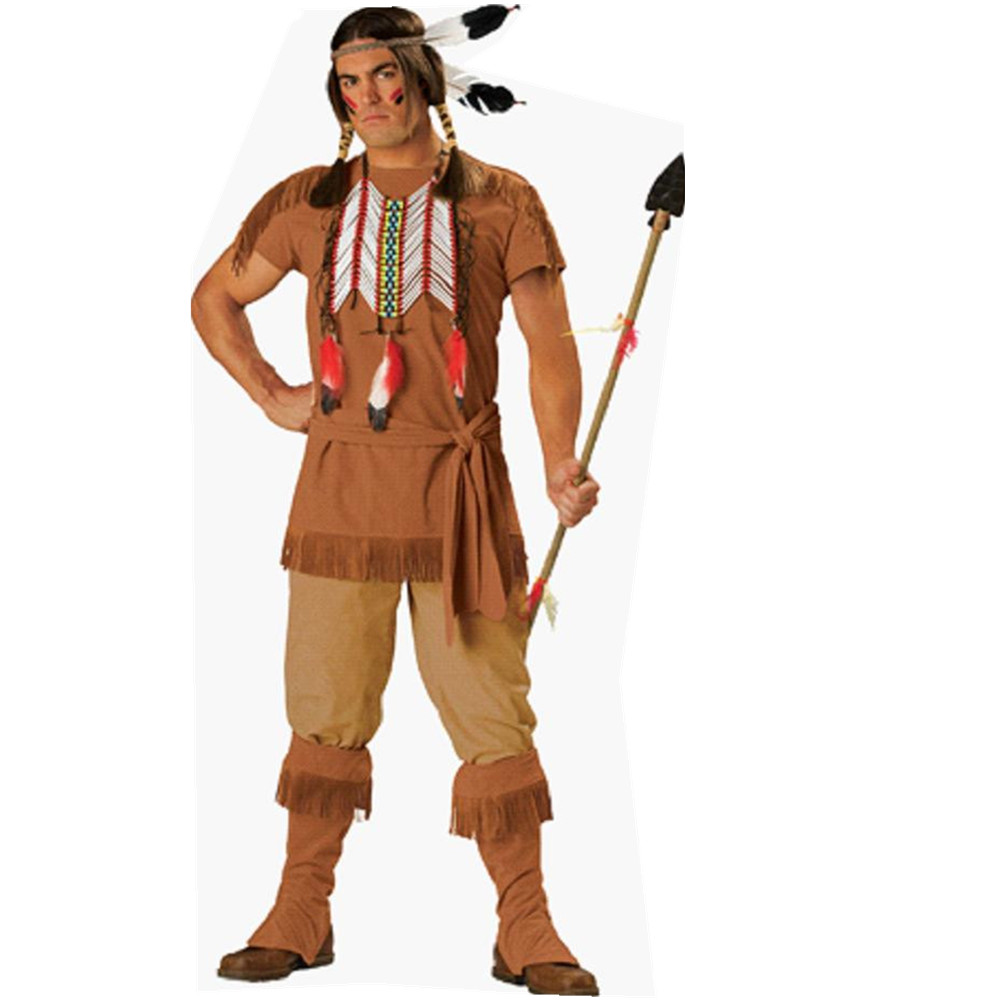 Adults Halloween American Native Indian Costume Western Fancy Dress Indians Male Costume Outfit