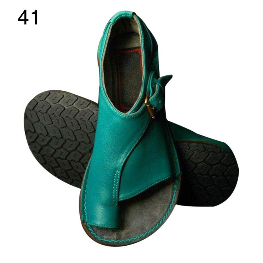 2019 New Fashion Vintage Women Belt Buckle Flat Heel Sandals Beach Shoes Summer Travel Shoes