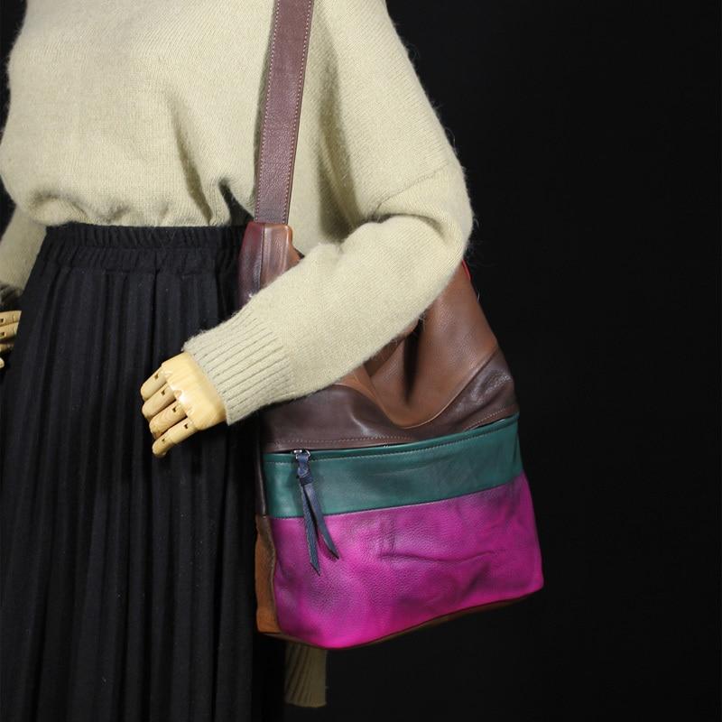 2019 Genuine Leather Zipper Closure Women Vintage Bucket handbags Cowhide Female Single Cross Shoulder Bag for Lady Panelled in Top Handle Bags from Luggage Bags