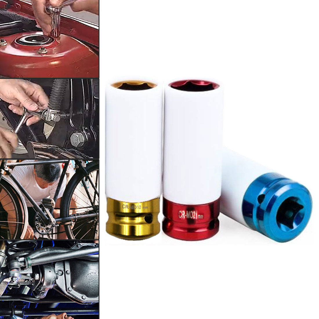 1pc Colorful Sleeve Tire Protection Sleeve Wall Deep Impact Nut Socket High-carbon Steel Wheel 17mm/19mm/ 21mm 1pc Colorful Sleeve Tire Protection Sleeve Wall Deep Impact Nut Socket High-carbon Steel Wheel 17mm/19mm/ 21mm