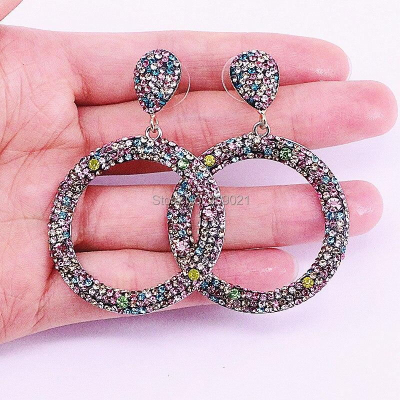 Mode 4 paires bijoux faits à la main Pave arc en ciel strass rond cercle boucles d'oreilles pour les femmes-in Boucles d'oreilles pendantes from Bijoux et Accessoires    2