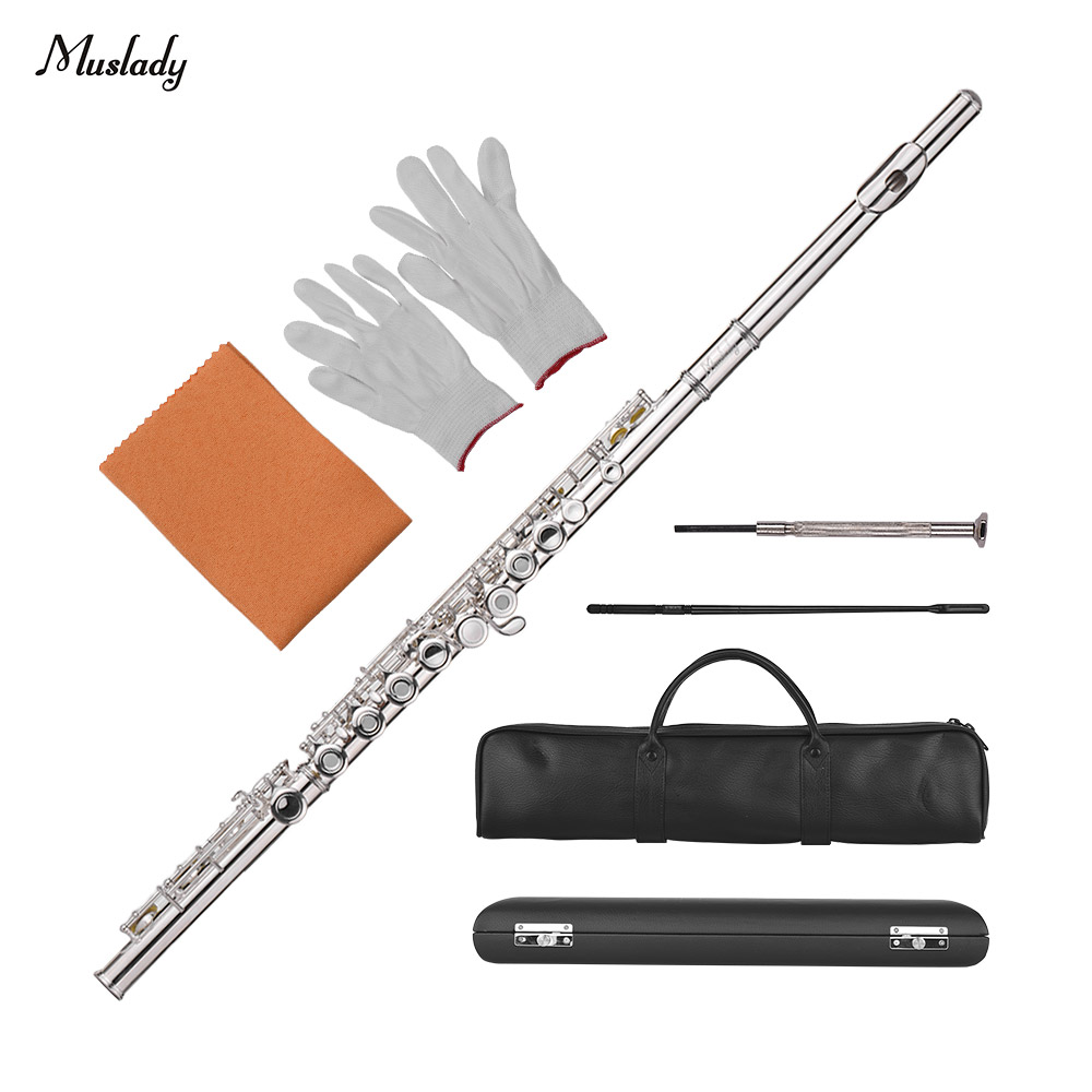 Muslady 17-Hole Concert C Flute Open/ Closed Pore Cupronickel Material Silver Plated Woodwind InstrumentMuslady 17-Hole Concert C Flute Open/ Closed Pore Cupronickel Material Silver Plated Woodwind Instrument