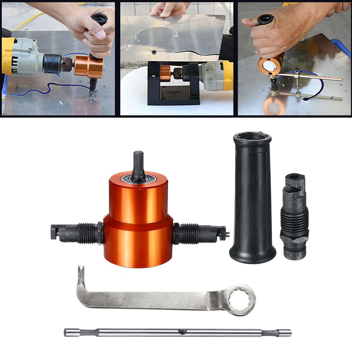 Double Headed Sheet Metal Cutting Nibbler Drill Attachment Metal Free Saw Cutting Tool Tool Plate Open Hole Drill w/Extra PunchDouble Headed Sheet Metal Cutting Nibbler Drill Attachment Metal Free Saw Cutting Tool Tool Plate Open Hole Drill w/Extra Punch