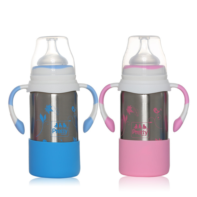 Originality Baby Handle Heat Preservation Feeding Bottle Baby Stainless Steel Widemouthed Nipple Bottle Baby