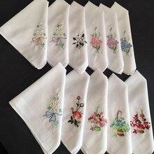 30x30 см винтажный Дамский женский хлопковый платок Карманный квадратный платок с цветочной вышивкой