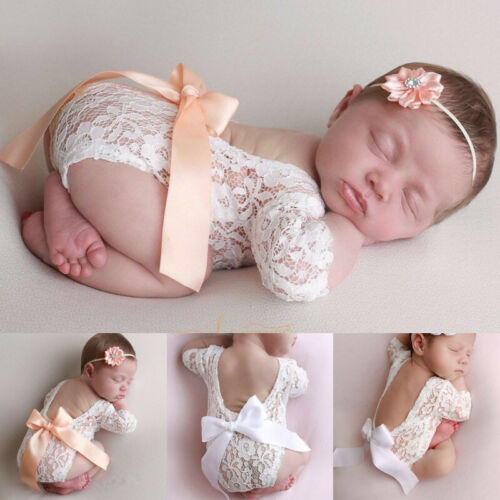 Newborn lace photo clothing bow hair band set two-piece photography Accessories props Hollow V Backless Baby   Rompers