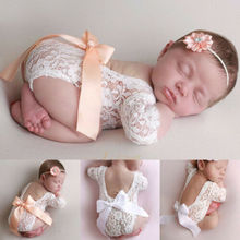 Newborn lace photo clothing bow hair band set two-piece phot