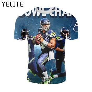 YELITE 2019 nuevo fútbol americano Seattle Seahawks deporte pintura camiseta de hombre efecto 3D camiseta Cool Short masculino camiseta camisetas