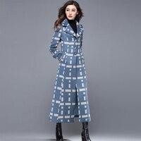 Плюс Размеры кашемир Для женщин пальто длинные 2018 зимние женские куртки тонкий костюм утепленная верхняя одежда женская осенняя куртка дву