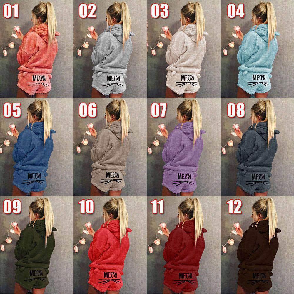 2018 Autumn xxxxxl  Women Solid Color Warm Winter Pajamas Set Two Piece Cute Cat Hoodie Sleepwear Pants Suit