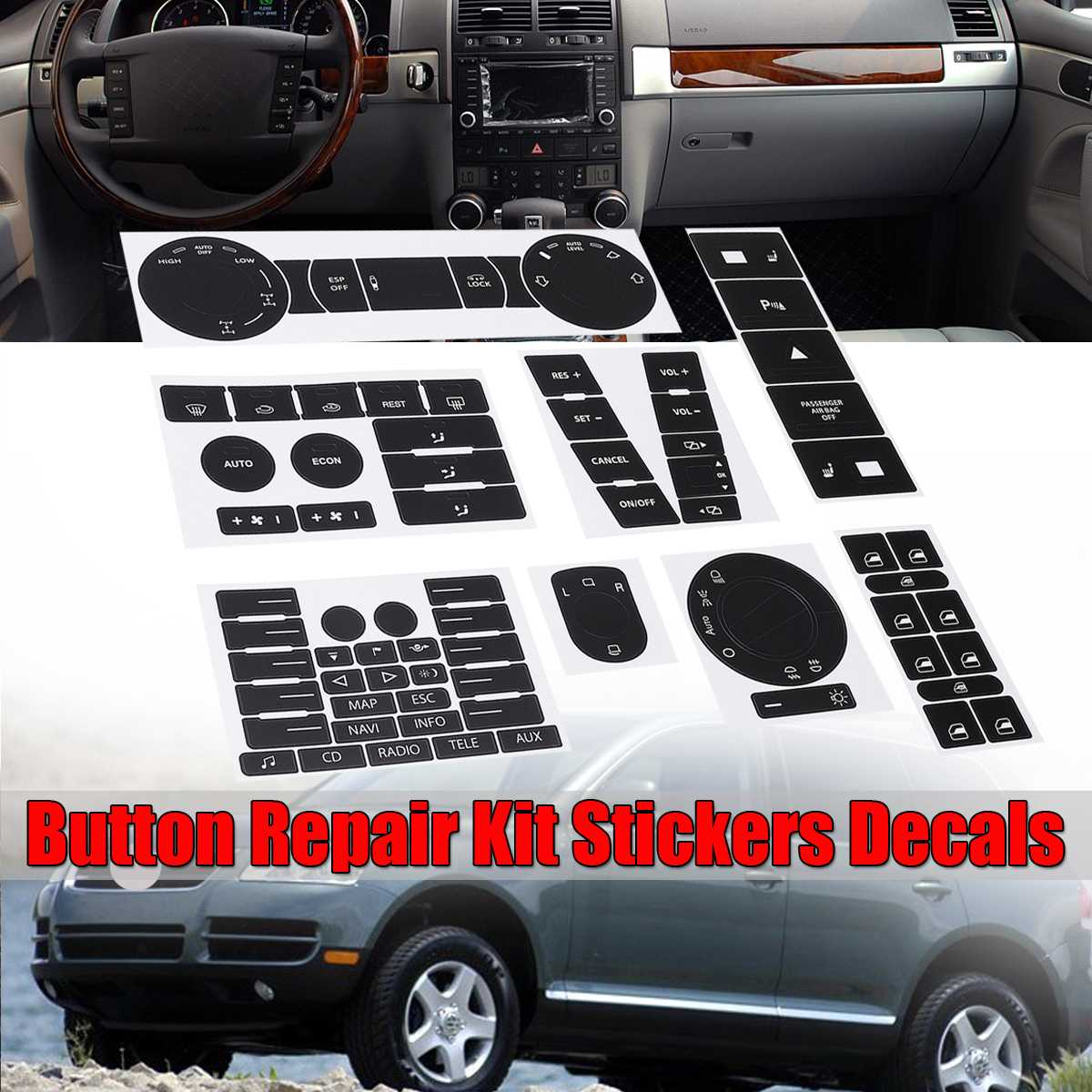 Full Set Car Steering Wheel Windows Headlight Climate Switch Button Repair Stickers Decals For VW For Volkswagen Touareg 2004-09