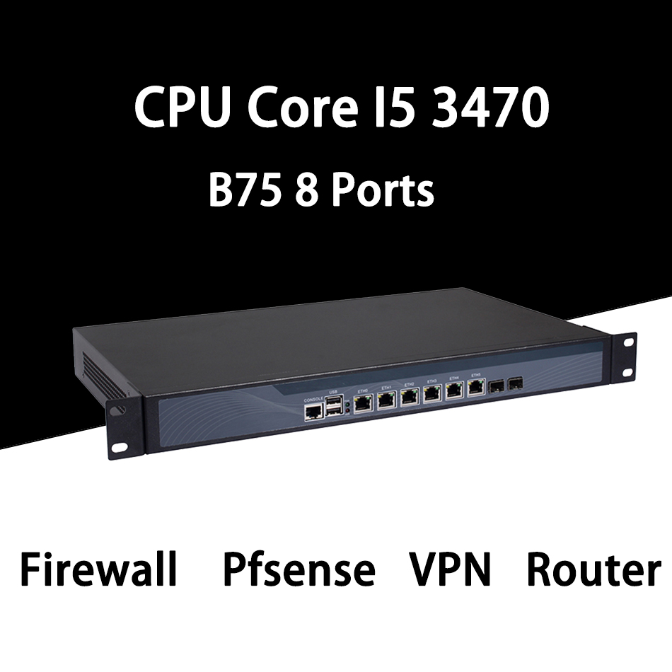 Firewall Mikrotik Pfsense VPN Network Security Appliance Router PC Intel Core I5 3470,[HUNSN SA11R],(6LAN/2USB/1COM/1VGA)