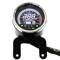 Moto Knight Car modified DC 12V multifunction instrument Black Shell Silver circle LCD screen mileage public miles switch