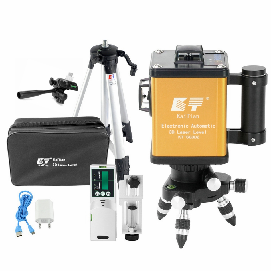 KaiTian Laser Verde Livello 12 Linee di 360 Rotante Ricevitore Elettronico Automatico di Auto-Livellamento 3D Laser Nivel 520nm Linea Laser strumenti
