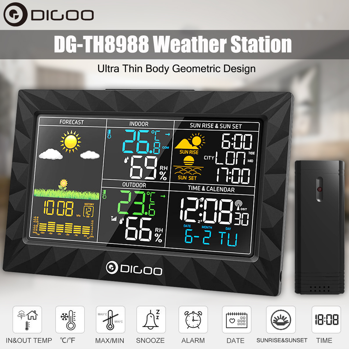 DIGOO DG-TH8988 LCD Color Indoor Outdoor Weather Station + Remote Sensor Thermometer Snooze Clock Sunrise Sunset DisplayDIGOO DG-TH8988 LCD Color Indoor Outdoor Weather Station + Remote Sensor Thermometer Snooze Clock Sunrise Sunset Display