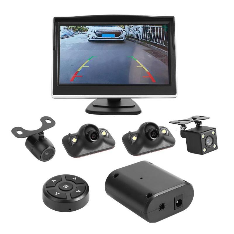 Système de vue d'oiseau de 5 pouces 360 degrés 4 caméra panoramique voiture DVR enregistrement Parking assistant moniteur avant + arrière + gauche + caméra de vue droite