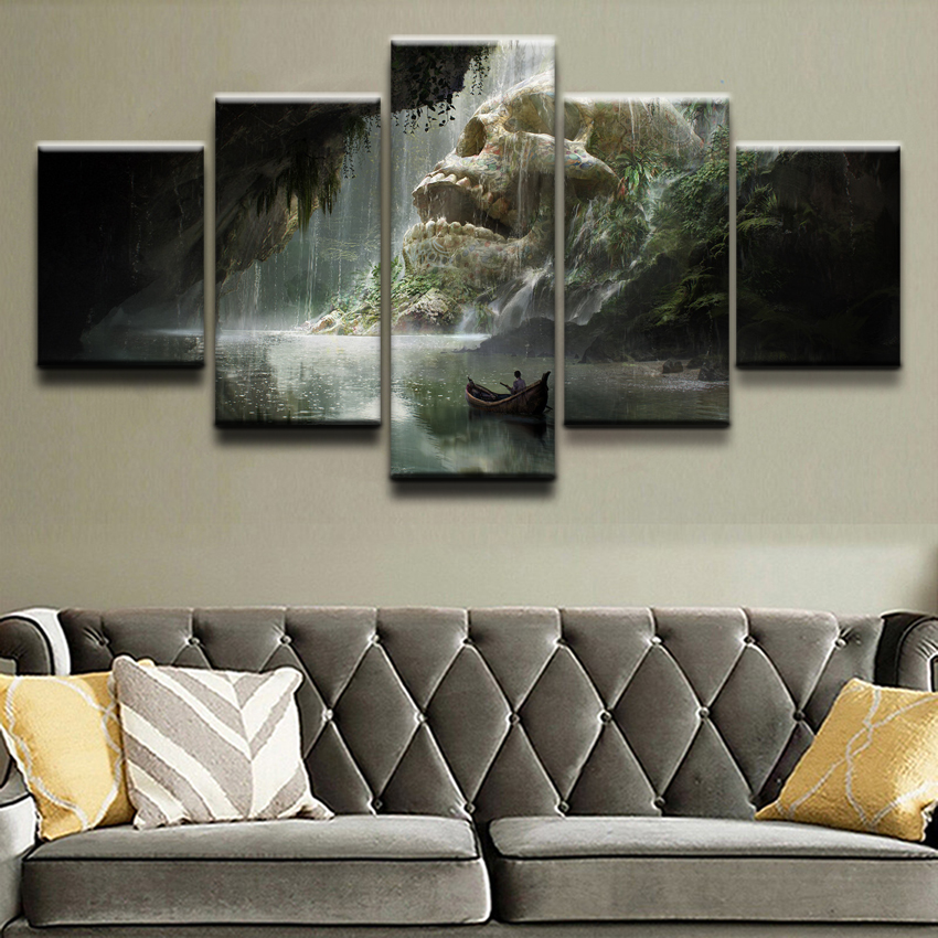 5 Pieces Boat Cave River Skull Waterfall Canvas Painting Home Decor Wall Art Living Room Print Pictures Artwork