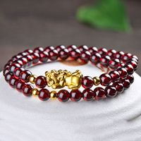 New Jewelry 24K Yellow Gold Bracelet Lucky Garnet With 3D Pixiu And Bead Link