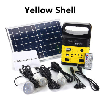 Smuxi Portable Solar Generator Outdoor Power Mini DC6W Solar Panel 6V-9Ah Lead-acid Battery Charging LED Lighting System 3