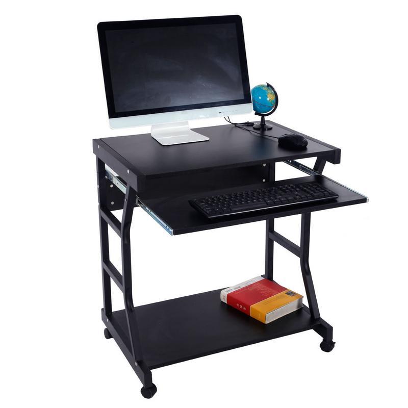 Bureau d'ordinateur mobile à quatre roues noir chambre à coucher avec support pour clavier et espace de rangement
