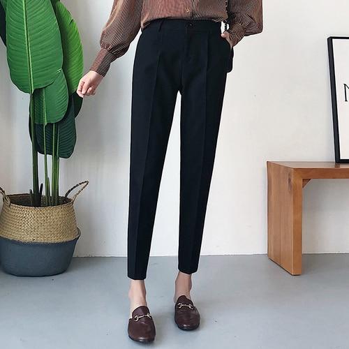 2019 Women Autumn Casual Harem Pants Fashion Loose Ankle-length Trousers Female Classic High Elastic Waist Pants Plus Size 3xl
