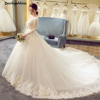 Robe De Mariee Vintage Long Sleeve Wedding Dress 2018 V Neck Ball Gown Wedding Dresses Lace weddingdress weeding vestido novia