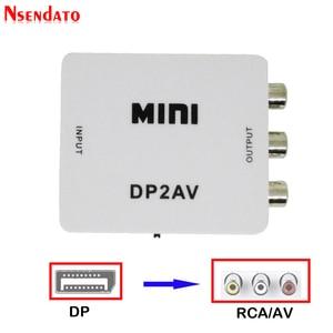 1080 P Mini DP wideo skrzynka konwerterowa Display Port DP do RCA DP2AV AV/CVSB L/R przełącznik wideo DP do AV przełącznik adapter do TV PC
