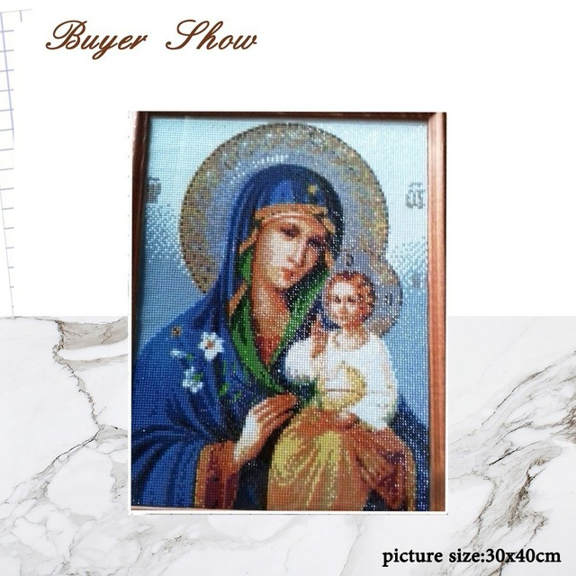 HUACAN Diamond Embroidery Icon DIY 5D Mary and Jesus Needle Gift Rhinestone Pasted Full Square Diamond