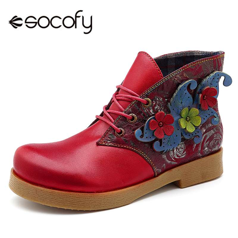 Socofy Autumn Winter Boots Women Shoes Genuine Leather Handmade Flower Ankle Boots Vintage Casual Lace-up Ladies Shoes BootiesSocofy Autumn Winter Boots Women Shoes Genuine Leather Handmade Flower Ankle Boots Vintage Casual Lace-up Ladies Shoes Booties