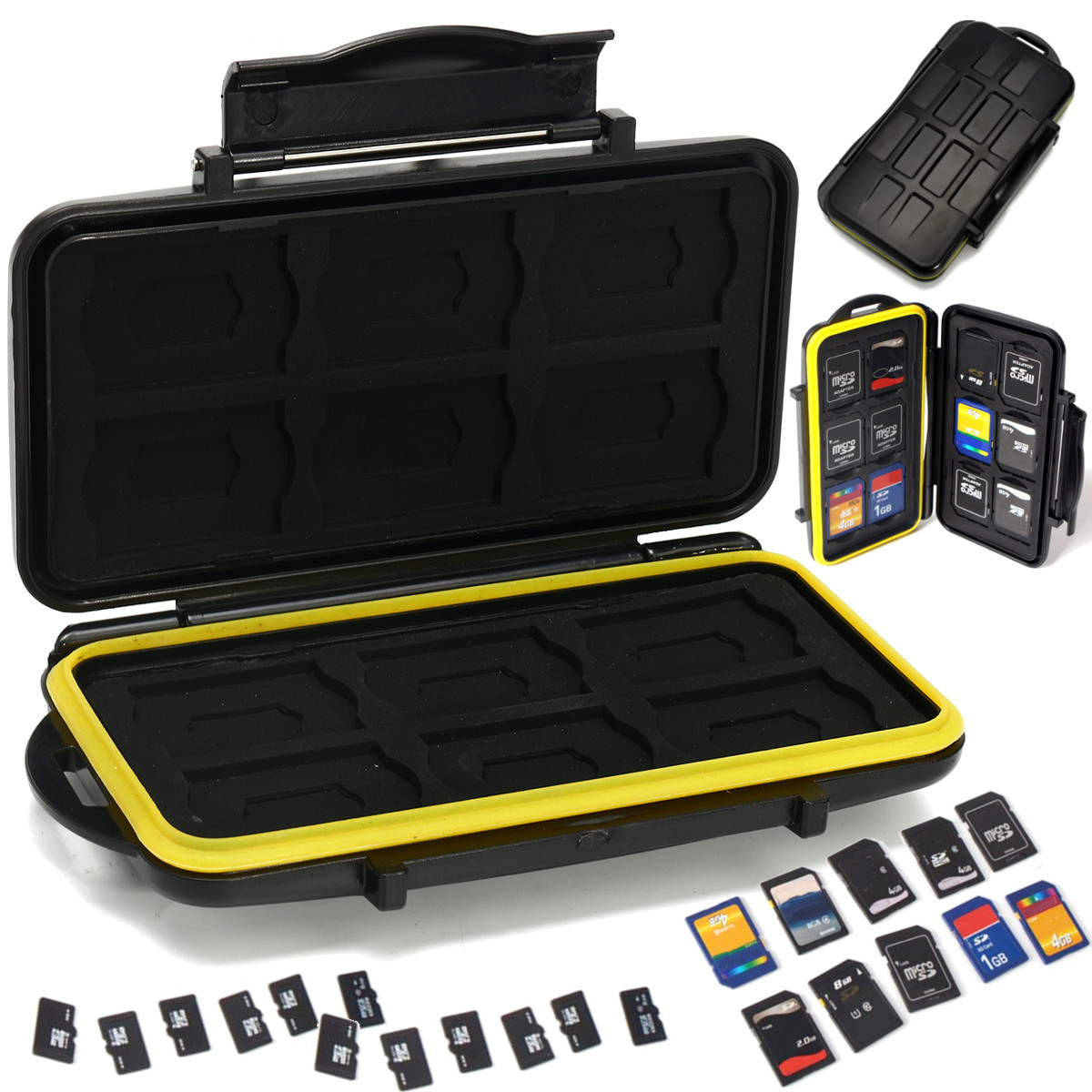 Soporte para caja de almacenamiento de tarjeta de Memoria Impermeable tarjetas 12+12TF Caja Anti-shock