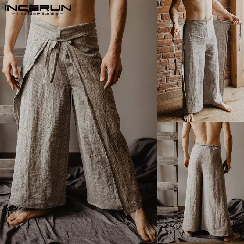 Image 5 - Vintage Men Harem Pant Baggy Wide Legs Loose Fitness Solid Fishermen Trousers Pantalon Hombre Drawstring High Waist Casual Pant-in Wide Leg Pants from Men's Clothing
